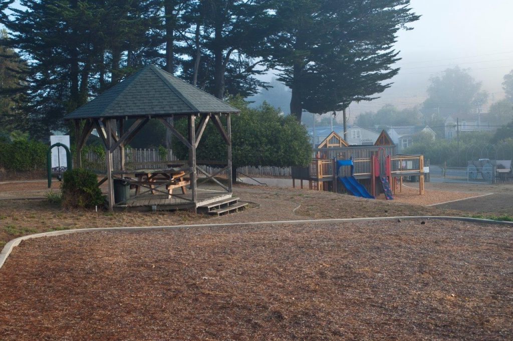 Gazebo and playground in park