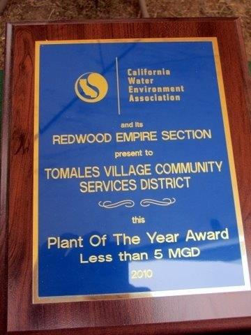 California Water Environment Association's Plant of the Year Award for Tomales Village Community Services District