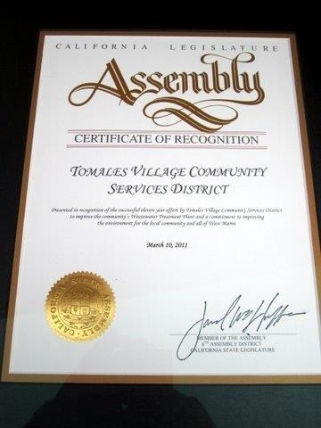California Legislature Assembly's Certificate of Recognition for Tomales Village Community Services District