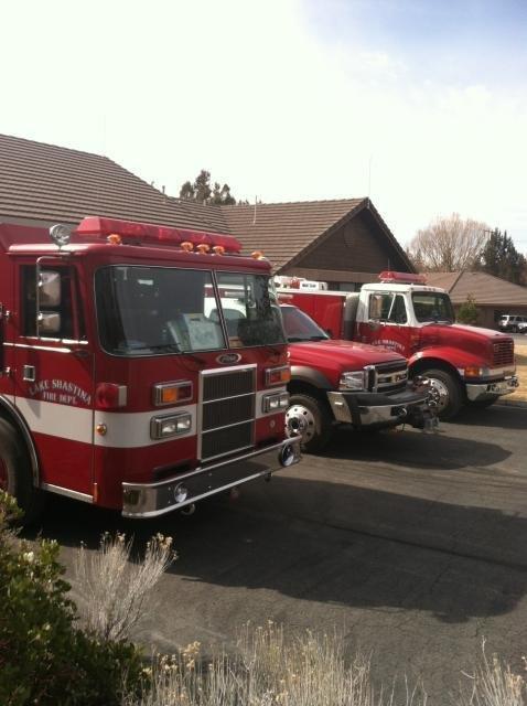 Fire trucks in station